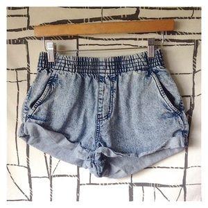 Cotton On Acid Wash Cuffed Denim Pull-On Shorts